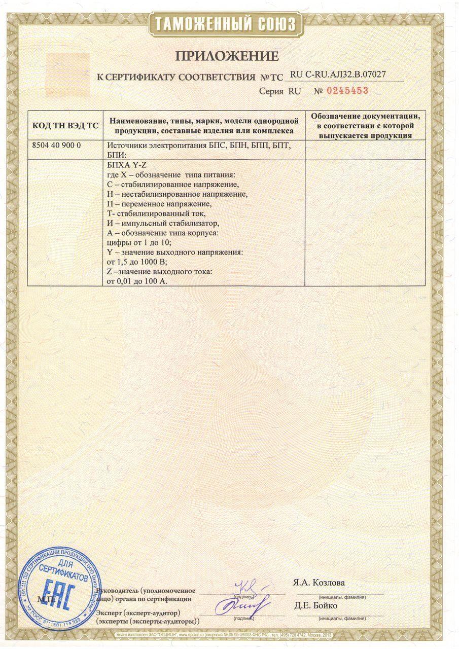 приложение к сертификату 2015